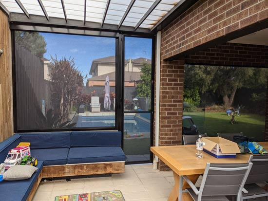 Xtrack blinds outdoor living spaces