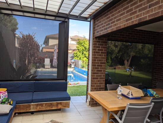 Xtrack blinds outdoor shelter
